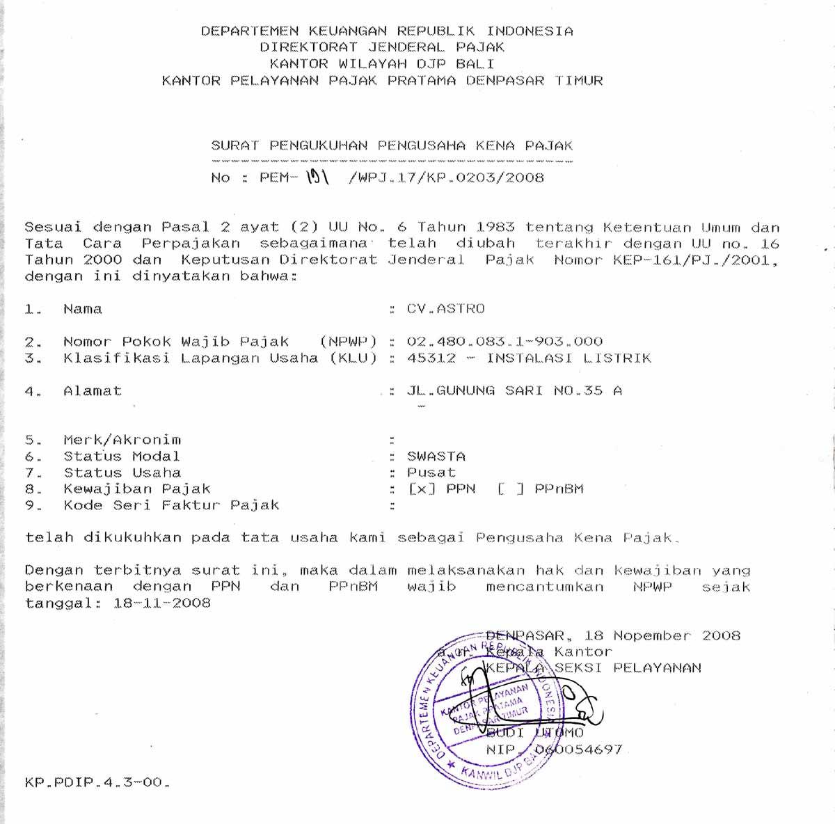 Profile Kontraktor Bali Cv Astro