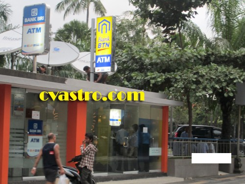 Pylon neon box sign (papan nama ATM) Bank BTN di waterbom Bali